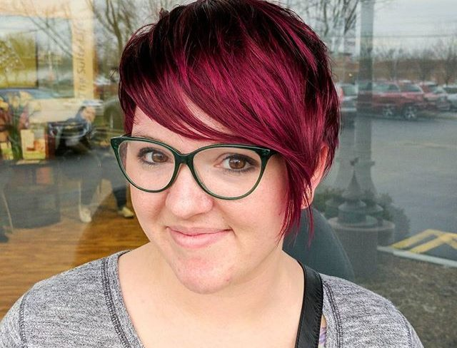 This color is almost as beautiful as my client, Casey, who's rocking it! All showcased by a heavily textured bob.